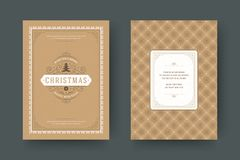 Christmas greeting card design template vector illustration. stock image