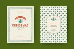 Christmas greeting card design template vector illustration. Christmas greeting card design template. Merry Christmas and holidays wishes retro typographic vector illustration
