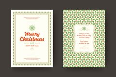 Christmas greeting card design template vector illustration. Christmas greeting card design template. Merry Christmas and holidays wishes retro typographic royalty free illustration
