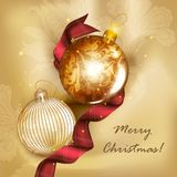 Christmas greeting card with detailed baubles and silk tissue Royalty Free Stock Image