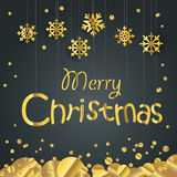 Christmas greeting card. Different golden vector snowflakes illu. Stration. Cristmas Stock Images
