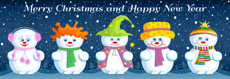 Christmas greeting card with different snowmen. Banner with different snowmen. Template for the Christmas and new year design. Vector greeting card Royalty Free Stock Images