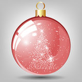 Christmas Greeting Card. Elegant Christmas Glossy Glass Ball With Fir From Stars Inside It over White Background. Also Suitable for New Year Cute Design. Vector Stock Photo