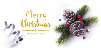 Christmas greeting card; Christmas element on white background; top view. Art Christmas greeting card; Christmas element on white background; top view stock photo