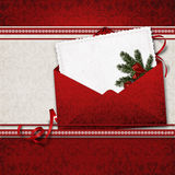 Christmas greeting card with envelope. Vintage Christmas card with envelope for congratulations and invitations, with a place for text or photo vector illustration