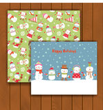 Christmas greeting card with an envelope. Cute Christmas greeting card with an envelope - cute cartoon snowmen Stock Photo