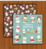 Christmas greeting card with an envelope. Cute Christmas greeting card with an envelope - cute cartoon snowmen Royalty Free Stock Photos