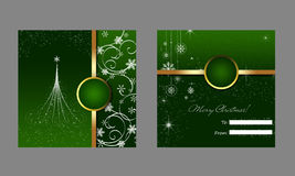 Christmas greeting card and envelope. Green Christmas card and green envelope with abstract New Year's design vector illustration