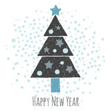 Christmas greeting card. Fancy Christmas tree on a white background. Happy New Year and Christmas. Isolated illustration. Snow with snowflakes Stock Photo