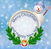 Christmas greeting card.Festive appliques backgrou. Nd with snowman. Illustration Royalty Free Stock Image