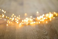 Christmas greeting card. Festive decoration on bokeh background. New Year concept. Copy space.  Flat lay. Top view.  royalty free stock photo