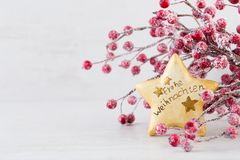 Christmas greeting card. Festive decoration on bokeh background. New Year concept. Copy space. Flat lay. Top view stock images
