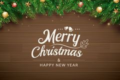 Christmas greeting card with fir branch on brown wooden background. Vector illustration happy new year. Use for banner, poster.  vector illustration