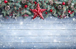 Christmas Greeting Card - Fir Branch And Decoration On Snowy