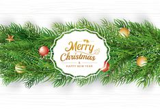 Christmas greeting card with fir branch on white wooden background. Vector illustration happy new year. Use for banner, poster.  vector illustration