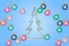 Christmas greeting card. Fir forest drawing by simple line and colorful christmas balls. Vector illustration EPS10 Stock Photo