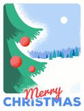Christmas greeting card with fir, retro styled with scratched paper. Christmas greeting card, retro styled with scratched paper Stock Image