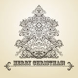 Christmas Greeting Card with Fir Tree Royalty Free Stock Photography