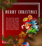 Christmas greeting-card with fir-tree and gifts. Christmas greeting card template with fir tree and vintage toy gifts. Vector illustration Royalty Free Stock Photo