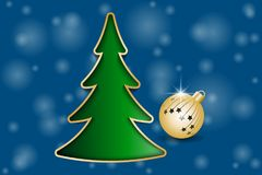 Christmas greeting card. Fir Tree and Golden Christmas ball. Vector illustration EPS10 Royalty Free Stock Photo