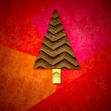 Christmas greeting card, fir tree in red background Stock Image