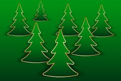 Christmas greeting card. With fir trees cut out from paper. Vector illustration EPS10 Royalty Free Stock Photo