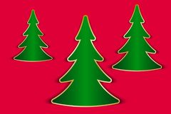 Christmas greeting card. With fir trees cut out from paper. Vector illustration EPS10 Stock Images