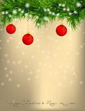 Christmas Greeting card with fir twigs and balls Stock Photos