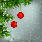 Christmas Greeting card with fir twigs and balls Stock Images