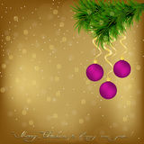 Christmas Greeting card with fir twigs and balls Royalty Free Stock Photography