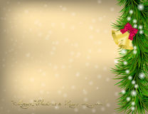 Christmas Greeting card with fir twigs and jingle bells Royalty Free Stock Photos