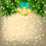 Christmas Greeting card with fir twigs and jingle bells Stock Photos