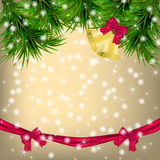 Christmas Greeting card with fir twigs and jingle bells. Golden Christmas and New Year Greeting card with fir twigs, snowflakes, bows, ribbon and jingle bells Stock Photos