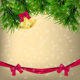 Christmas Greeting card with fir twigs and jingle bells Royalty Free Stock Images