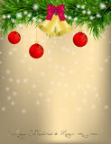 Christmas Greeting card with fir twigs and jingle bells Royalty Free Stock Image