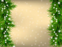 Christmas Greeting card with fir twigs and snowflakes. Golden Christmas and New Year Greeting card with fir twigs and snowflakes Stock Images