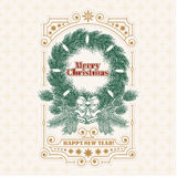 Christmas greeting card with fir wreath, an invitation to a holiday. Vector Christmas greeting card with fir wreath, ribbons, pine cones and bells, an invitation Stock Photos