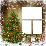 Christmas greeting card with frame, Christmas tree and gifts Stock Images