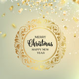 Christmas greeting card. Christmas frame  and confetti  over gray.  Christmas design with swirls and calligraphic text  over white. Merry Christmas greeting card Royalty Free Stock Image