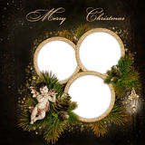 Christmas greeting card with frame for a family Stock Images