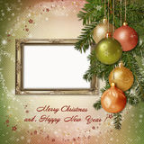 Christmas greeting card with frame for a family Royalty Free Stock Images