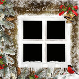 Christmas greeting card with frame in the form of windows, Christmas bells and pine branches. Frames in the form of windows, pine branches, berries, Christmas Royalty Free Stock Photography