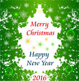 Christmas greeting card with frame of needles, snowflakes and stars. Green stylized christmas tree of needles and snowflakes Royalty Free Stock Photography