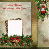 Christmas greeting card with frame Stock Image