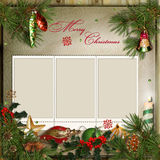 Christmas greeting card with frames for a family Stock Image