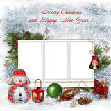 Christmas greeting card with frames for a family Royalty Free Stock Photos