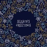 Christmas Greeting card full of hand drawn icons. Christmas greeting card. Isolated hand drawn design elements and `Season`s greeting` text in the middle. Vector Royalty Free Stock Images