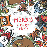 Christmas greeting card.Funny animals,birds,spruce Stock Photos