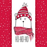 Christmas greeting card with funny bear. Hand drawn vector teddy. With red sweater, scarf and hat. Happy New Year illustration. Winter design. Happy holidays Royalty Free Stock Images