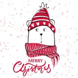 Christmas greeting card with funny bear. Hand drawn vector teddy. With red sweater, scarf and hat. Happy New Year illustration. Winter design. Happy holidays Stock Photos